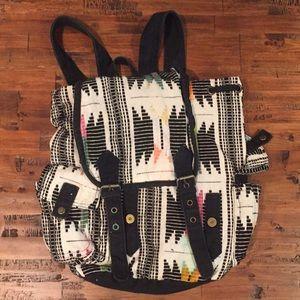 Tribal print bucket backpack